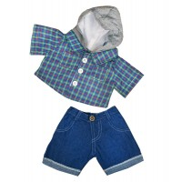 Chand. Capuchon Carreaux/Jeans Vêtements 40 cm